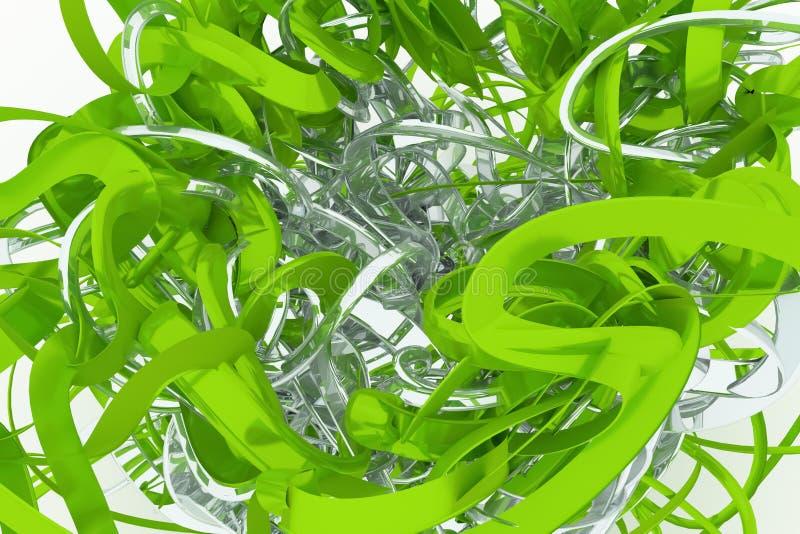Abstrakcjonistyczny CGI skład, wiązka upaćkany smyczkowy geometryczny Tapeta dla graficznego projekta Kolorowy 3d rendering zdjęcie royalty free
