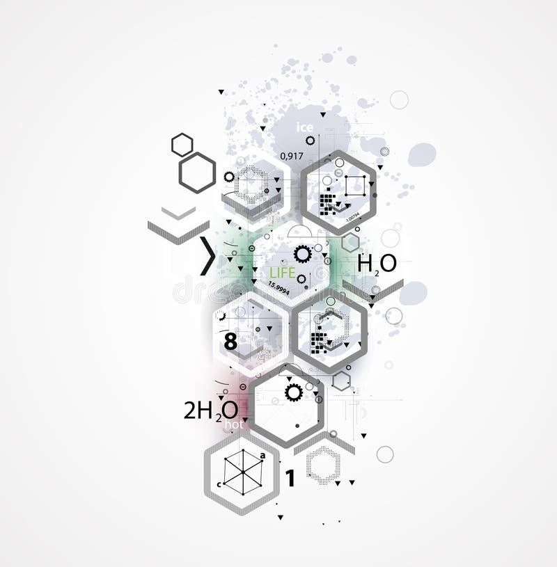 Abstrakcjonistyczny chemicznej formuły technologii biznesu tło royalty ilustracja