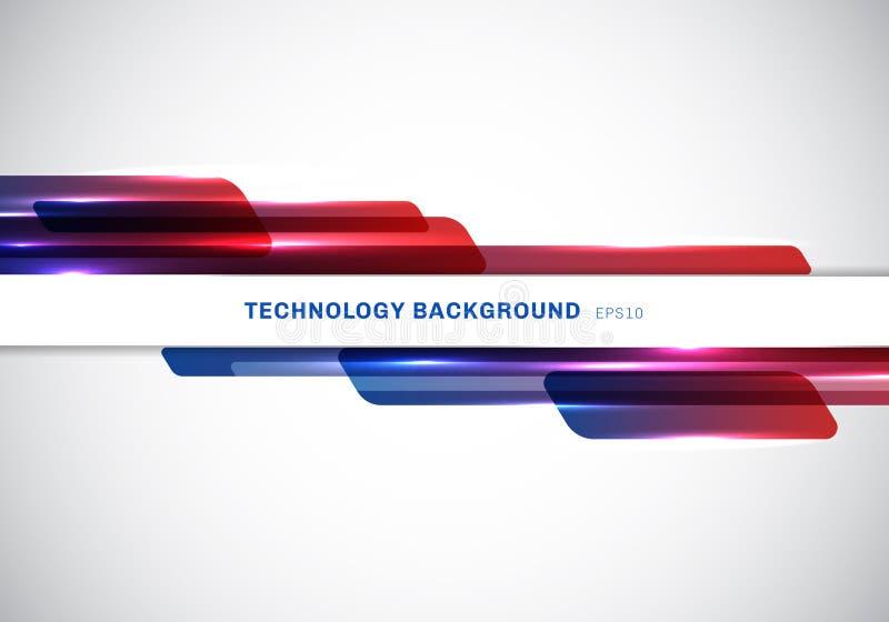 Abstrakcjonistyczny chodnikowiec błękitny i czerwoni błyszczący geometryczni kształty pokrywa się poruszającej technologii futury royalty ilustracja