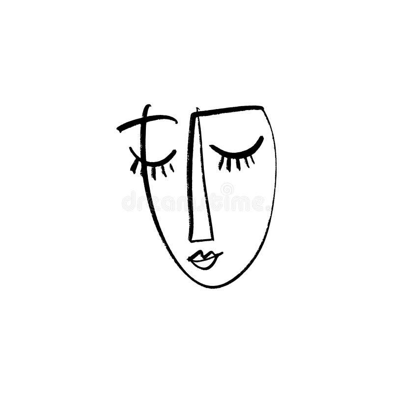 Abstrakcjonistyczny ciągły jeden kreskowy rysunek, kobiety twarz również zwrócić corel ilustracji wektora royalty ilustracja