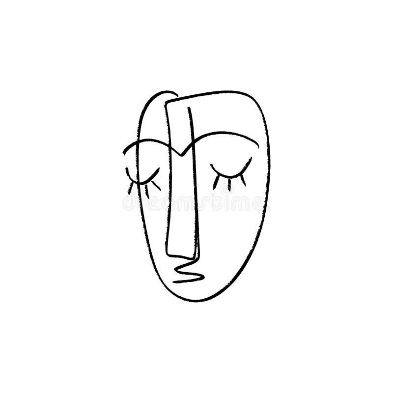 Abstrakcjonistyczny ciągły jeden kreskowy rysunek, kobiety twarz również zwrócić corel ilustracji wektora ilustracja wektor