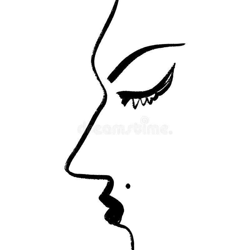 Abstrakcjonistyczny ciągły jeden kreskowy rysunek, kobiety twarzy profil również zwrócić corel ilustracji wektora royalty ilustracja