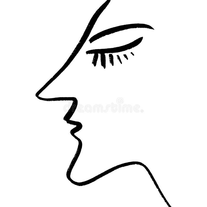 Abstrakcjonistyczny ciągły jeden kreskowy rysunek, kobiety twarzy profil również zwrócić corel ilustracji wektora ilustracji