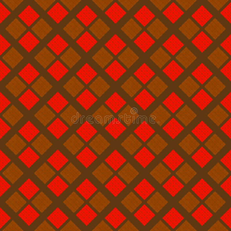 Abstrakcjonistyczny ciężki geometryczny bezszwowy wzór w czerwieni i brązu kolorach obraz stock