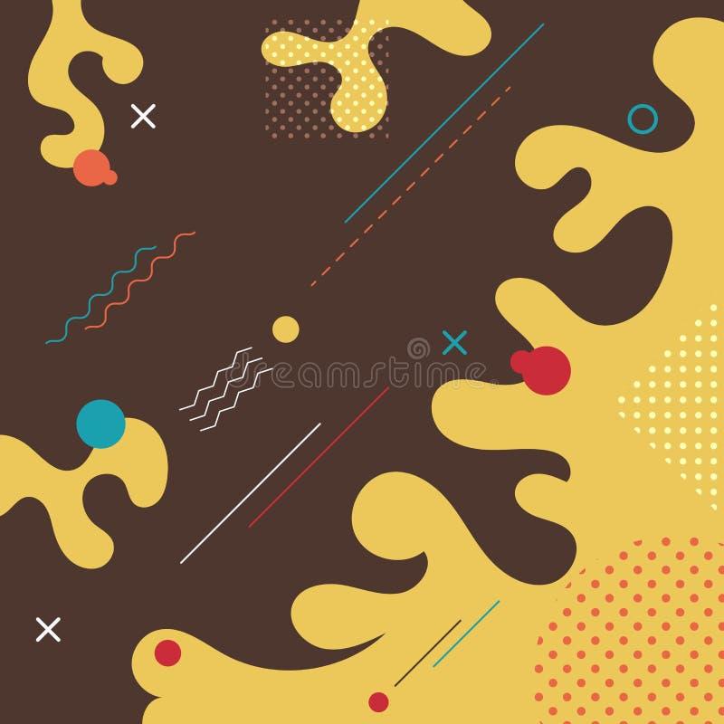 Abstrakcjonistyczny ciekły brąz, kolor żółty, błękit, biel, czerwoni geometryczni kształty i formy modnej mody Memphis karcianego ilustracja wektor