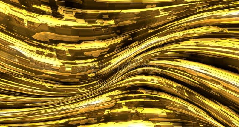 Abstrakcjonistyczny ciekły złocisty metalu tło royalty ilustracja