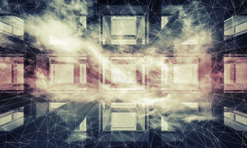 Abstrakcjonistyczny ciemny cyfrowy 3d technologii nowożytny tło royalty ilustracja