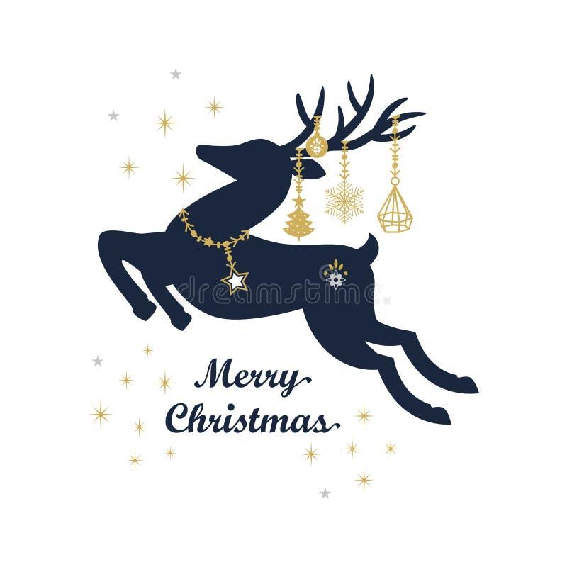Abstrakcjonistyczny ciemny marynarki wojennej błękit i złotej sylwetki skokowy renifer z ślicznymi wiszącymi wakacji ornamentami ilustracja wektor