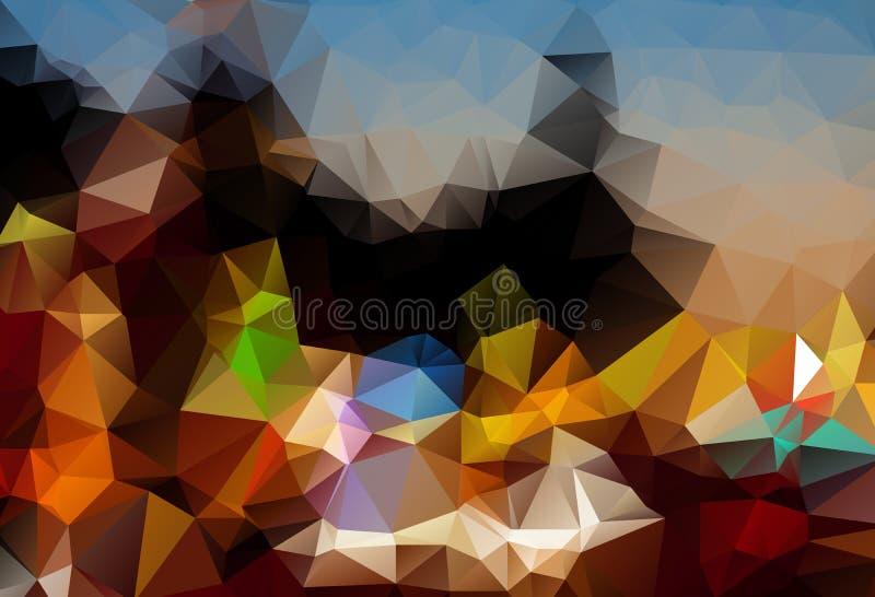 Abstrakcjonistyczny ciemny multicolor poligonalny tło Abstrakcjonistycznego Szarego tła niski poli- textured trójbok kształtuje w royalty ilustracja