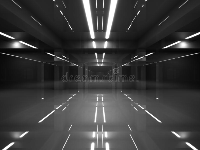 Abstrakcjonistyczny ciemny nowożytny wnętrze z neonowymi światłami ilustracji