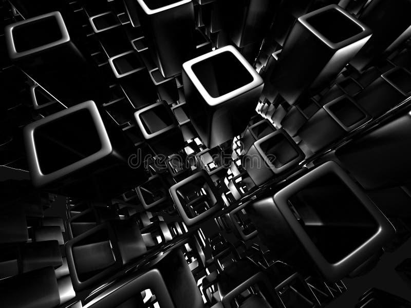Abstrakcjonistyczny Ciemny sześcian Blokuje Kruszcowego tło ilustracja wektor