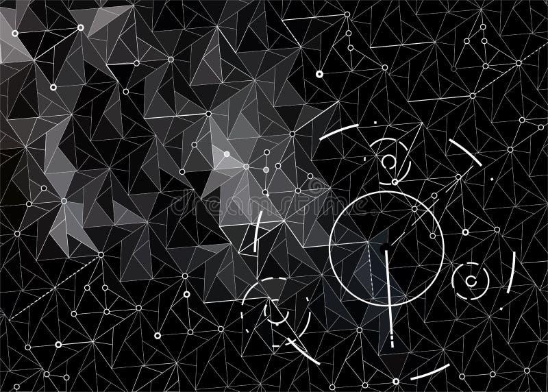 Abstrakcjonistyczny ciemny techniki hud tło od trójboków ilustracji