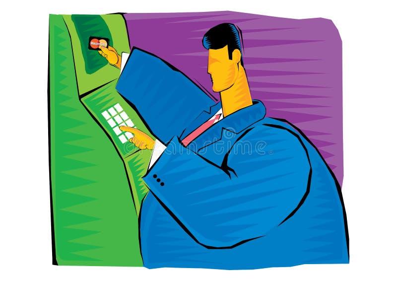Abstrakcjonistyczny Clipart biznesmen wycofuje pieniądze kartą kredytową ilustracji