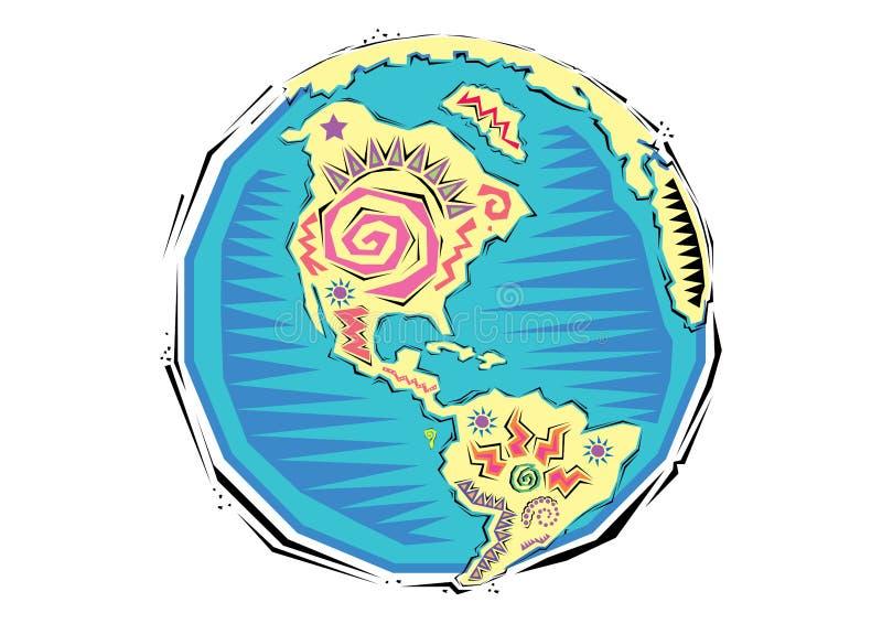 Abstrakcjonistyczny Clipart Globalna ziemska planety mapa royalty ilustracja