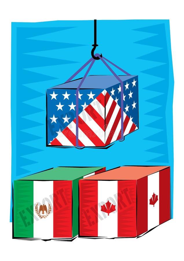 Abstrakcjonistyczny Clipart handel międzynarodowy pojawiać się towarami wysyłać ilustracja wektor