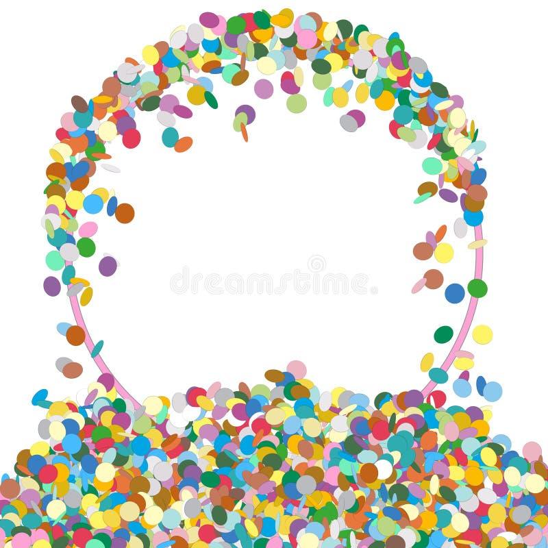 Abstrakcjonistyczny Colourful Round Kształtny teksta panel z confetti odrzynkiem royalty ilustracja