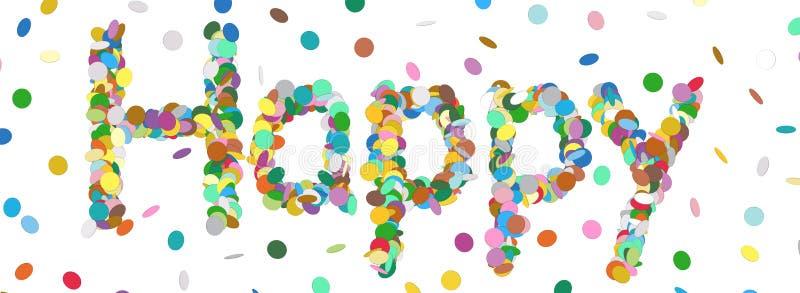 Abstrakcjonistyczny confetti słowo Kolorowy panorama wektor - Szczęśliwy list - royalty ilustracja