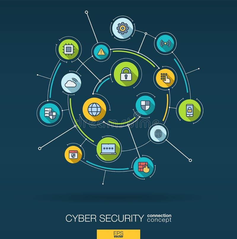 Abstrakcjonistyczny cyber ochrony tło Digital łączy system z zintegrowanymi okręgami, mieszkanie cienkie kreskowe ikony wektor ilustracji