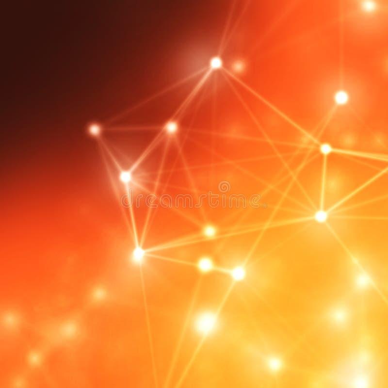 Abstrakcjonistyczny cybernetyczny cząsteczki tło Plexus fantazi technologii tło ilustracja 3 d komputer głowę przez człowieka prz ilustracji
