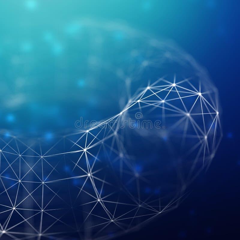 Abstrakcjonistyczny cybernetyczny cząsteczki tło Plexus fantazi technologii tło ilustracja 3 d komputer głowę przez człowieka prz fotografia royalty free