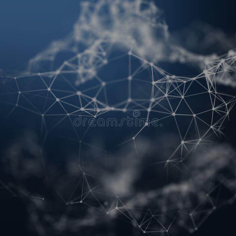 Abstrakcjonistyczny cybernetyczny cząsteczki tło Plexus fantazi technologii tło ilustracja 3 d komputer głowę przez człowieka prz obrazy royalty free