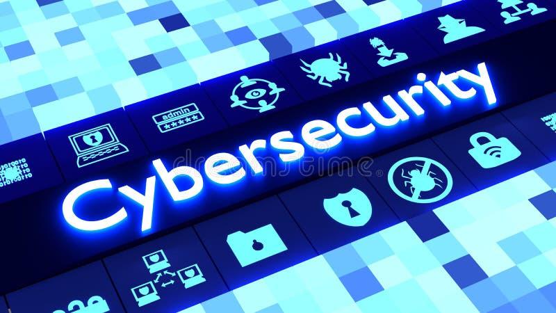 Abstrakcjonistyczny cybersecurity pojęcie w błękicie z ikonami ilustracji