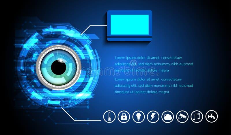 Abstrakcjonistyczny Cyfrowego oka obrazu cyfrowego fantastyka naukowa futurystyczny interfejs użytkownika tła binarnego kodu ziem ilustracja wektor