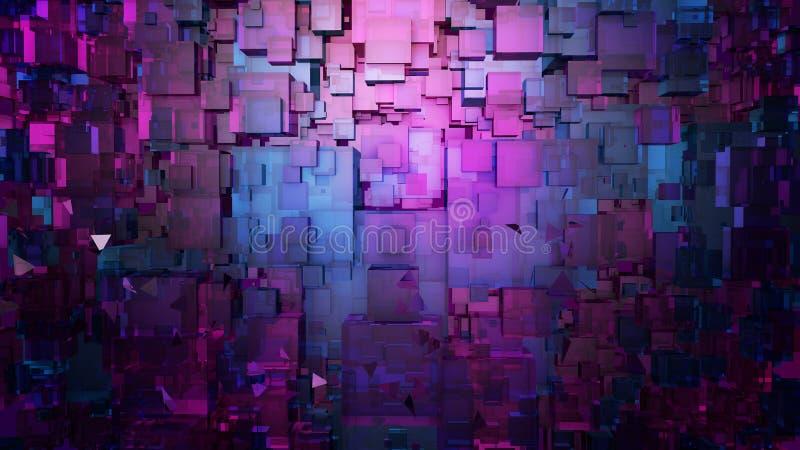 Abstrakcjonistyczny cyfrowy architektury tło Mikroukład technologii 3D ilustracja ilustracji