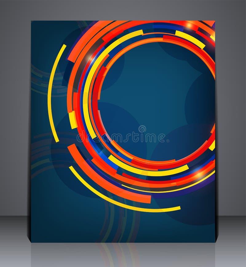 Abstrakcjonistyczny cyfrowy biznesowy broszurki ulotki projekt w A4 rozmiarze, układ pokrywy projekt w błękitnych kolorach royalty ilustracja