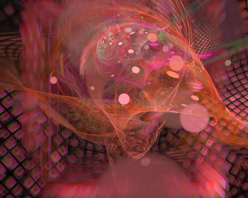 Abstrakcjonistyczny cyfrowy fractal przepływ, piękny dekoracji fantazji projekt, partyjny futurystyczny dynamiczny ilustracja wektor