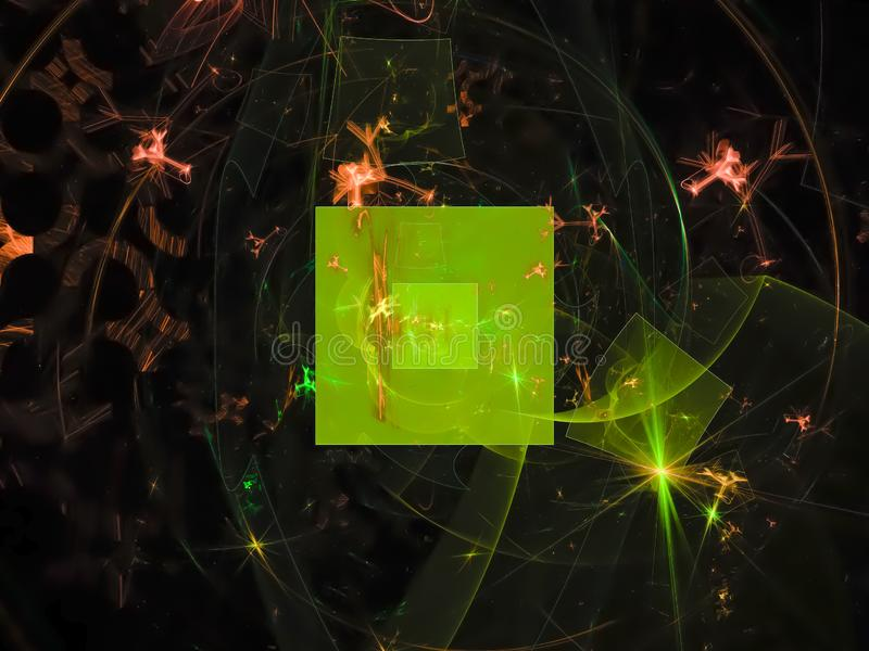 Abstrakcjonistyczny cyfrowy fractal, wyobraźnia ornamentu tajemniczego stylu fantazi płomienia koloru projekta karty piękny kreat royalty ilustracja