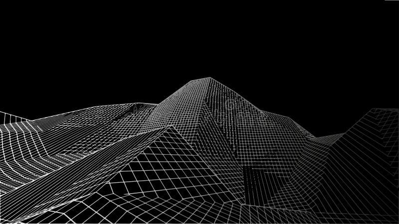 Abstrakcjonistyczny cyfrowy krajobraz Wireframe krajobrazu tło Duży Dane 3d futurystyczna wektorowa ilustracja royalty ilustracja