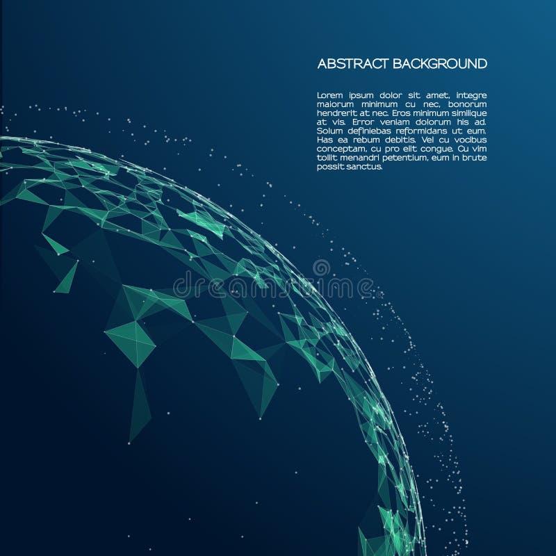 Abstrakcjonistyczny cyfrowy krajobraz z cząsteczek gwiazdami na horyzoncie i kropkami Druciany rama krajobrazu tło royalty ilustracja