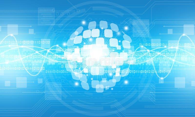 Abstrakcjonistyczny cyfrowy kuli ziemskiej technologii związku tło ilustracja wektor