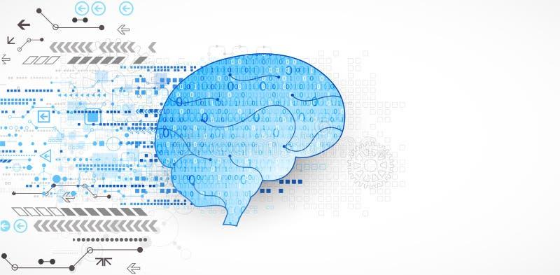 Abstrakcjonistyczny cyfrowy mózg, technologii pojęcie wektor ilustracja wektor