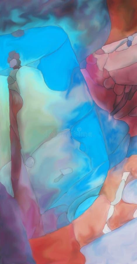 Abstrakcjonistyczny cyfrowy malujący fantazja tulipan ilustracja wektor