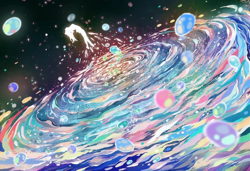 Abstrakcjonistyczny cyfrowy rysunek kobieta pursing z morza zdjęcie stock