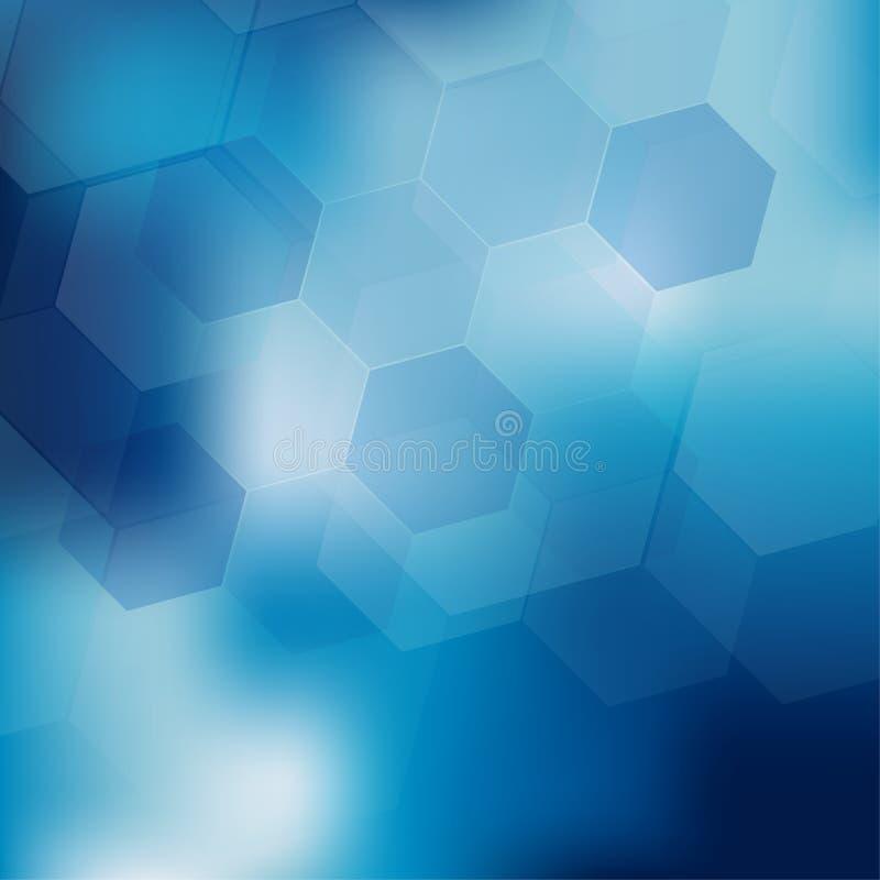 Abstrakcjonistyczny cyfrowy sześciokąt na błękitnym tle ilustracja wektor
