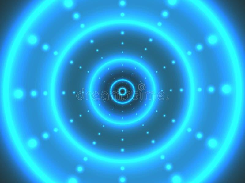 Abstrakcjonistyczny cyfrowy tunel z jaskrawymi okręgami tła nowożytny futurystyczny Jarzyć się 3D pojęcie Cyber tło dla sieci ilustracja wektor