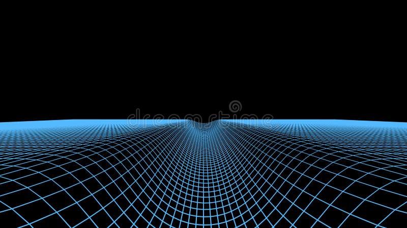 Abstrakcjonistyczny cyfrowy tunelowy tło Krajobrazowa siatki ilustracja 3d cyberprzestrzeni technologii wireframe Cyfrowej siatki ilustracja wektor