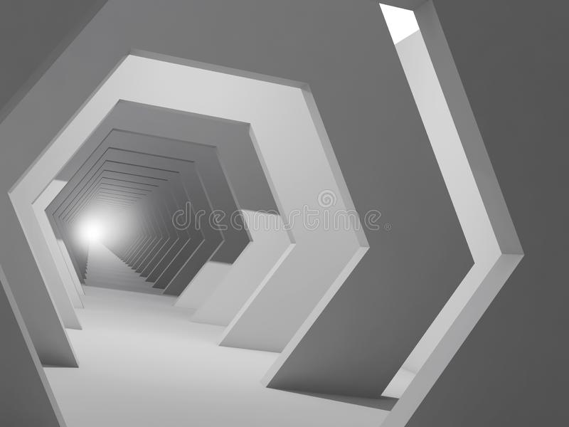 Abstrakcjonistyczny cyfrowy wewnętrzny tło, 3d korytarz ilustracji