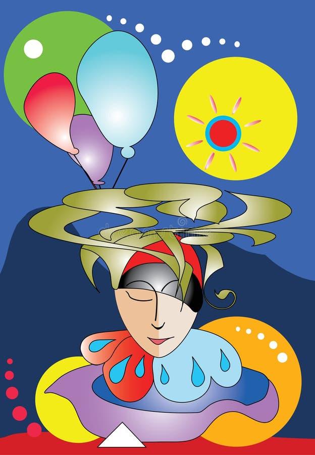 abstrakcjonistyczny cyrkowego błazenu sen royalty ilustracja