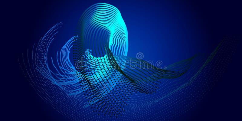 Abstrakcjonistyczny cząsteczka przepływ w twisty liniach z cieniem w zmroku fut royalty ilustracja