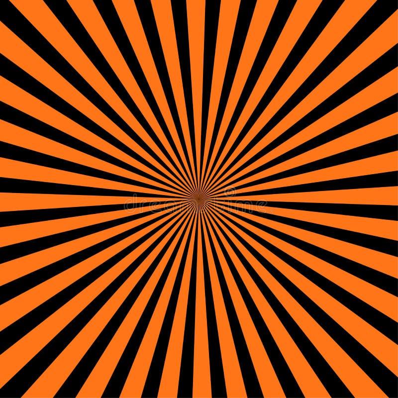 Abstrakcjonistyczny czarnego i pomarańczowego koloru promieniowy blackground dla Halloween tematu pojęcia royalty ilustracja