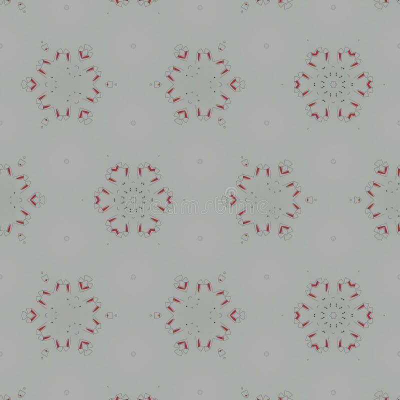 Abstrakcjonistyczny czarny, biały, szary, czerwony cyfrowy tło z cybernetycznymi cząsteczkami, royalty ilustracja
