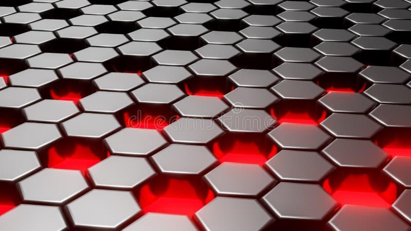 Abstrakcjonistyczny czarny heksagonalny geometryczny płatowaty Futurystyczna sześciokąt powierzchnia Przyszłościowy fantastyka na ilustracja wektor
