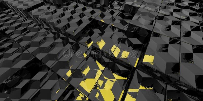 Abstrakcjonistyczny czarny i żółty szklany tło 3d bloki ilustracja wektor