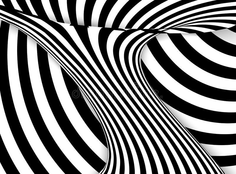 Abstrakcjonistyczny czarny i biały falisty lampasa tło również zwrócić corel ilustracji wektora ilustracji