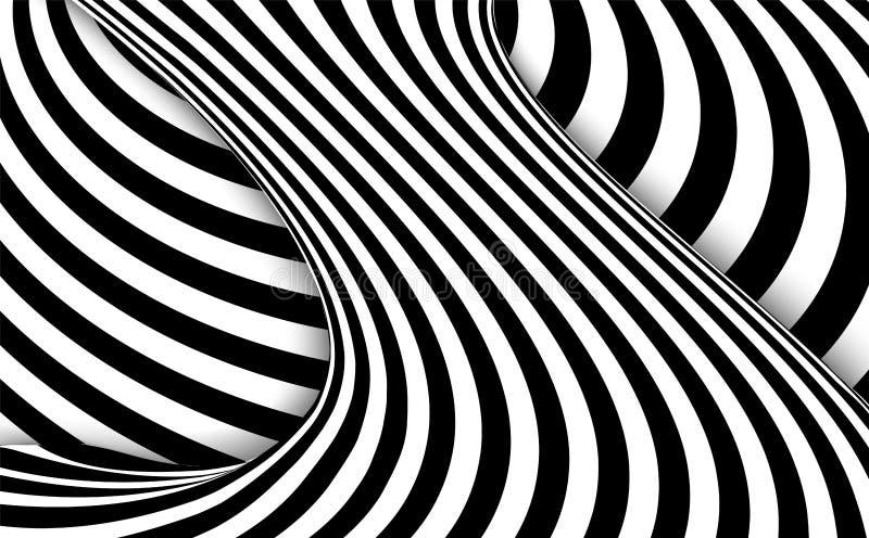 Abstrakcjonistyczny czarny i biały falisty lampasa tło również zwrócić corel ilustracji wektora royalty ilustracja