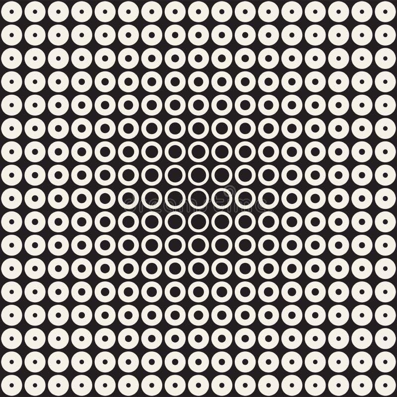 Abstrakcjonistyczny czarny i biały deseniowy tło Bezszwowy geometryczny okręgu halftone Elegancki nowożytny texturen ilustracji